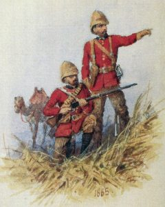 Coldstream Guards members of the Guards Camel Corps: Battle of Abu Klea on 17th January 1885 in the Sudanese War: picture by Orlando Norie