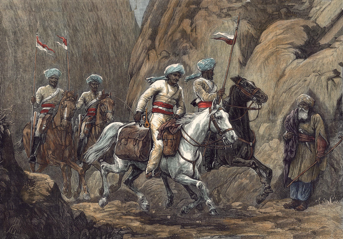 Courier on the road with his escort: Battle of Ahmed Khel on 19th April 1880 in the Second Afghan War