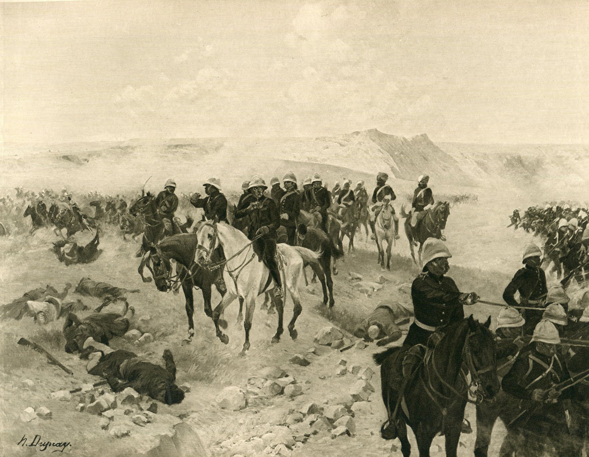 General Roberts' army on the march from Kabul to Kandahar: Battle of Kandahar on 1st September 1880 in the Second Afghan War: picture by Henri Dupray