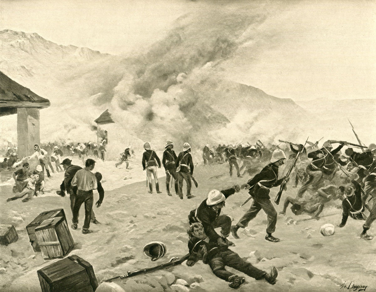 The Defence of Rorke's Drift on 22nd January 1879 in the Zulu War: picture by Henri Dupray