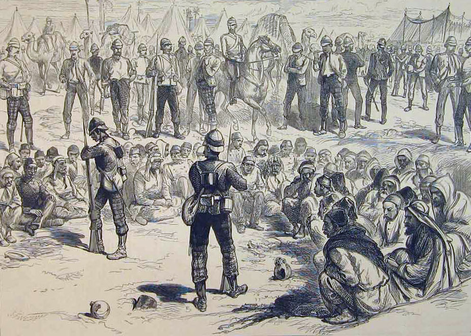 Egyptian prisoners after the Battle of Tel-el-Kebir on 13th September 1882 in the Egyptian War