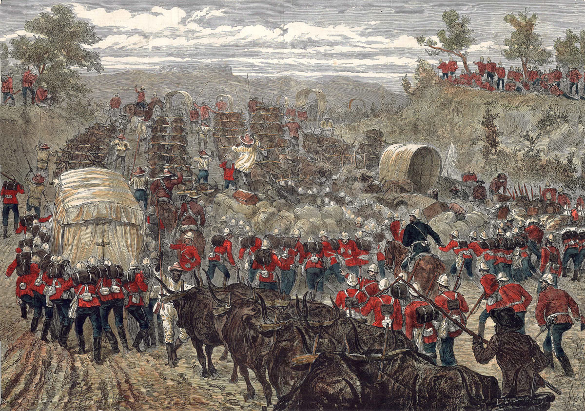 British troops on the move in Zululand: Battle of Khambula on 29th March 1879 in the Zulu War