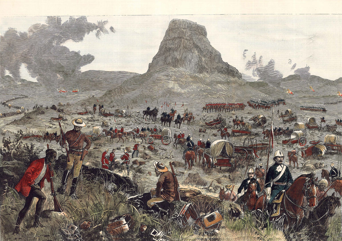 Lord Chelmsford's column fetching away the wagons after the Battle of Isandlwana on 22nd January 1879 in the Zulu War