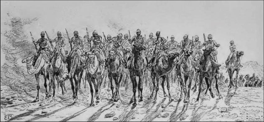 The Desert Column marches out from Korti: Battle of Abu Klea on 17th January 1885 in the Sudanese War: drawing by Lady Butler