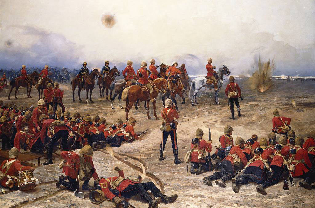 The British Foot Guards at the Battle of Tel-el-Kebir on 13th September 1882 in the Egyptian War: picture by Alphonse de Neuville