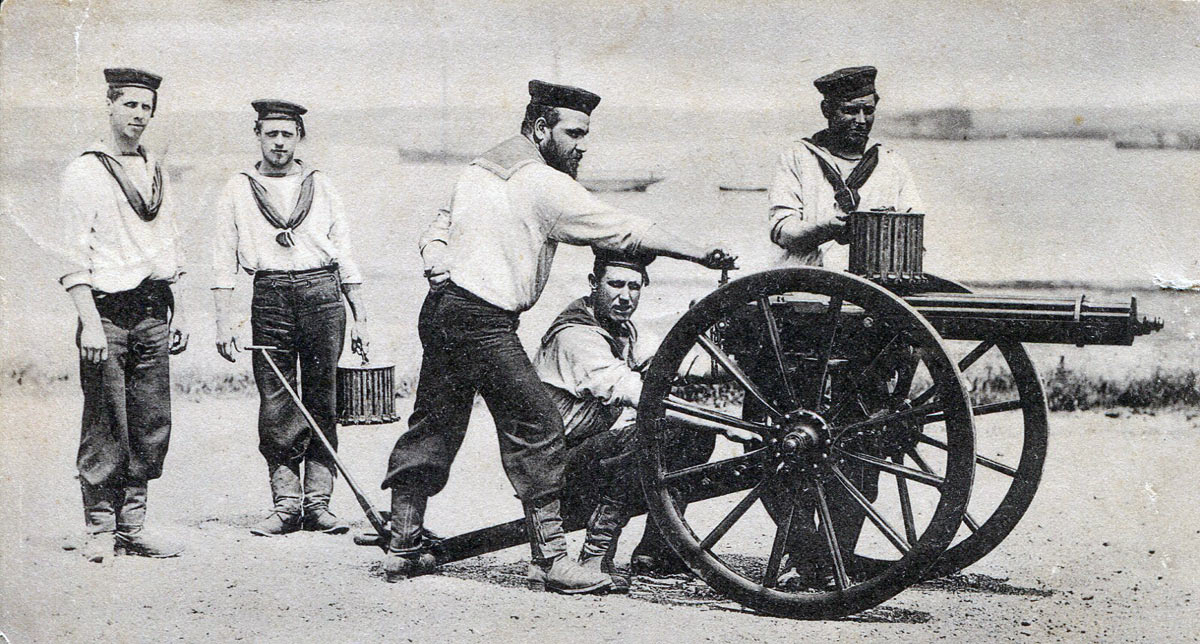 Royal Navy Gatling Gun team: Battle of Gingindlovu on 2nd April 1879 in the Zulu War