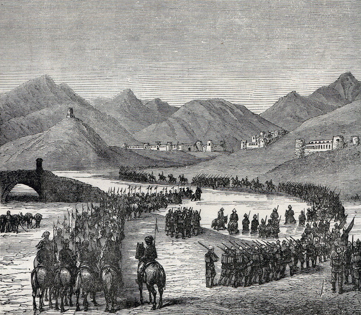 General Ross's division crossing the Logar River, marching to meet General Stewart's division: Battle of Ahmed Khel on 19th April 1880 in the Second Afghan War
