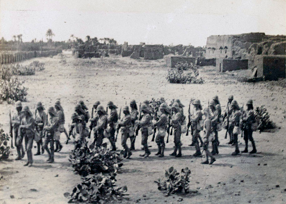 Grenadier Guards landing before the Battle of Omdurman on on 2nd September 1898 in the Sudanese War
