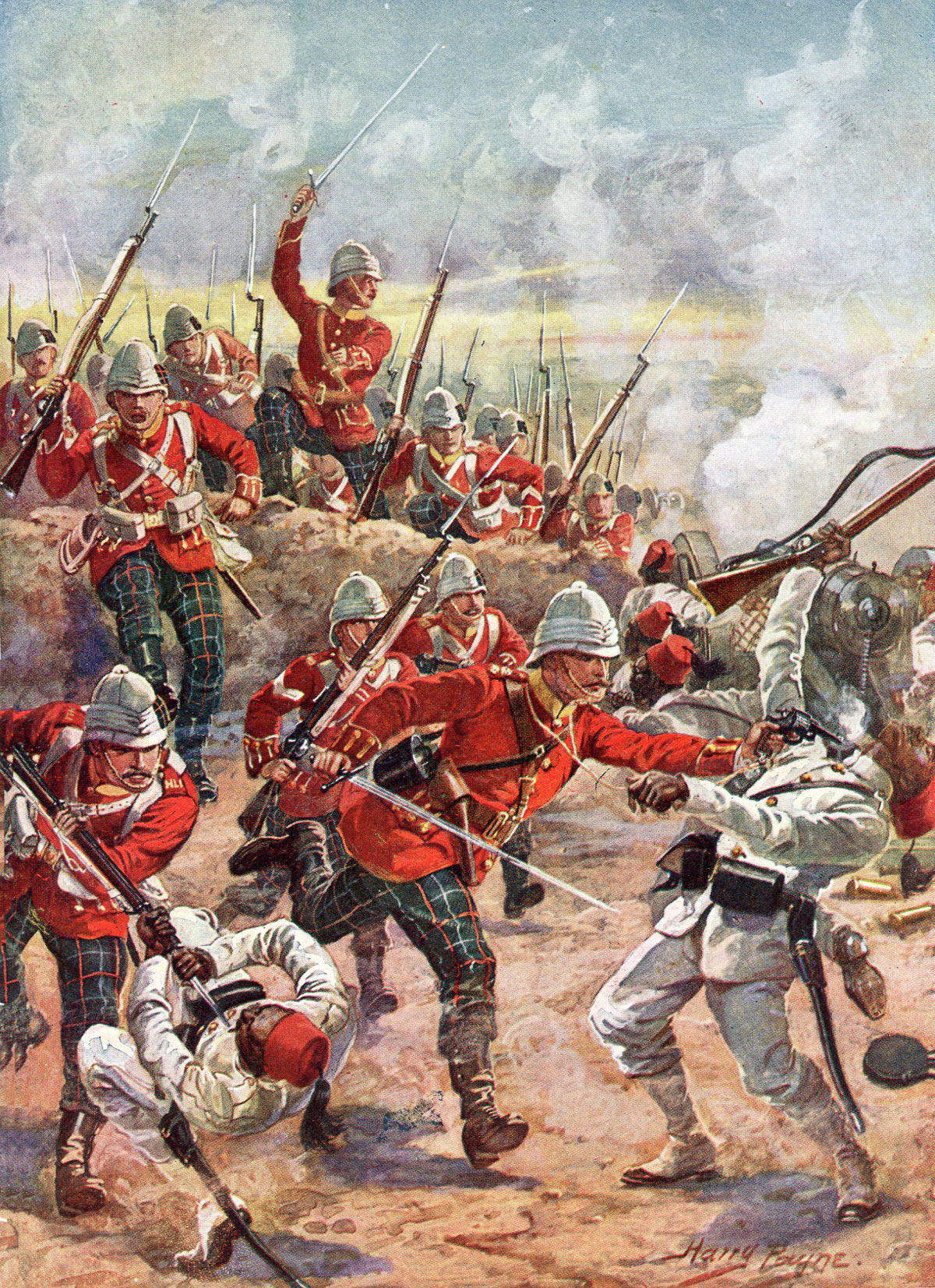 Highland Light Infantry assaulting the Egyptian entrenchments at the Battle of Tel-el-Kebir on 13th September 1882 in the Egyptian War: picture by Harry Payne