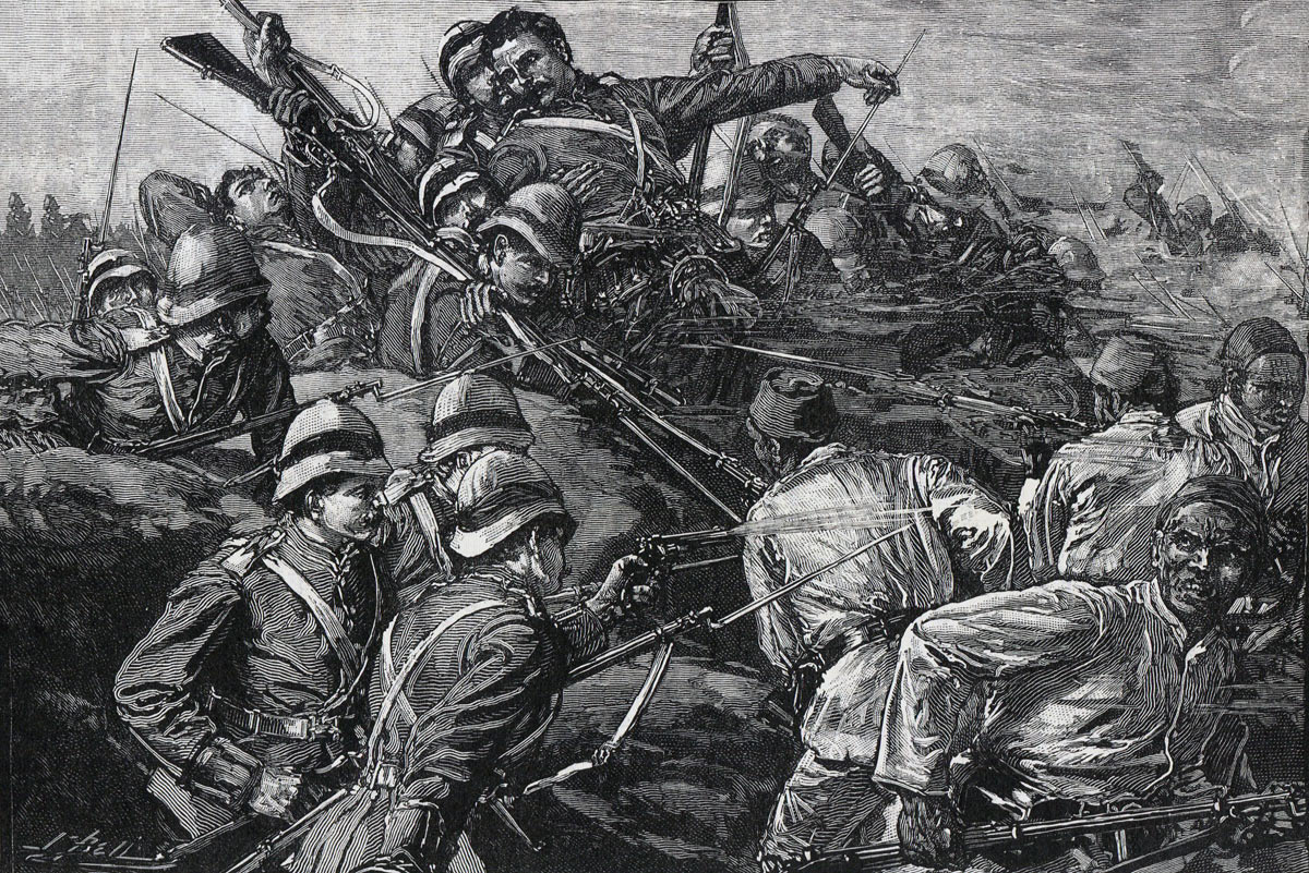 Highland Brigade assaulting the Egyptian entrenchments at the Battle of Tel-el-Kebir on 13th September 1882 in the Egyptian War