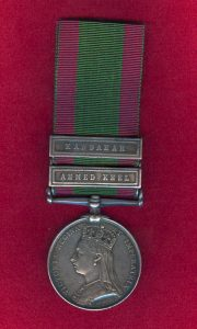 Second Afghan War Medal with clasps for Kandahar and Ahmed Khel: Battle of Ahmed Khel on 19th April 1880 in the Second Afghan War: picture by courtesy of Historik Orders