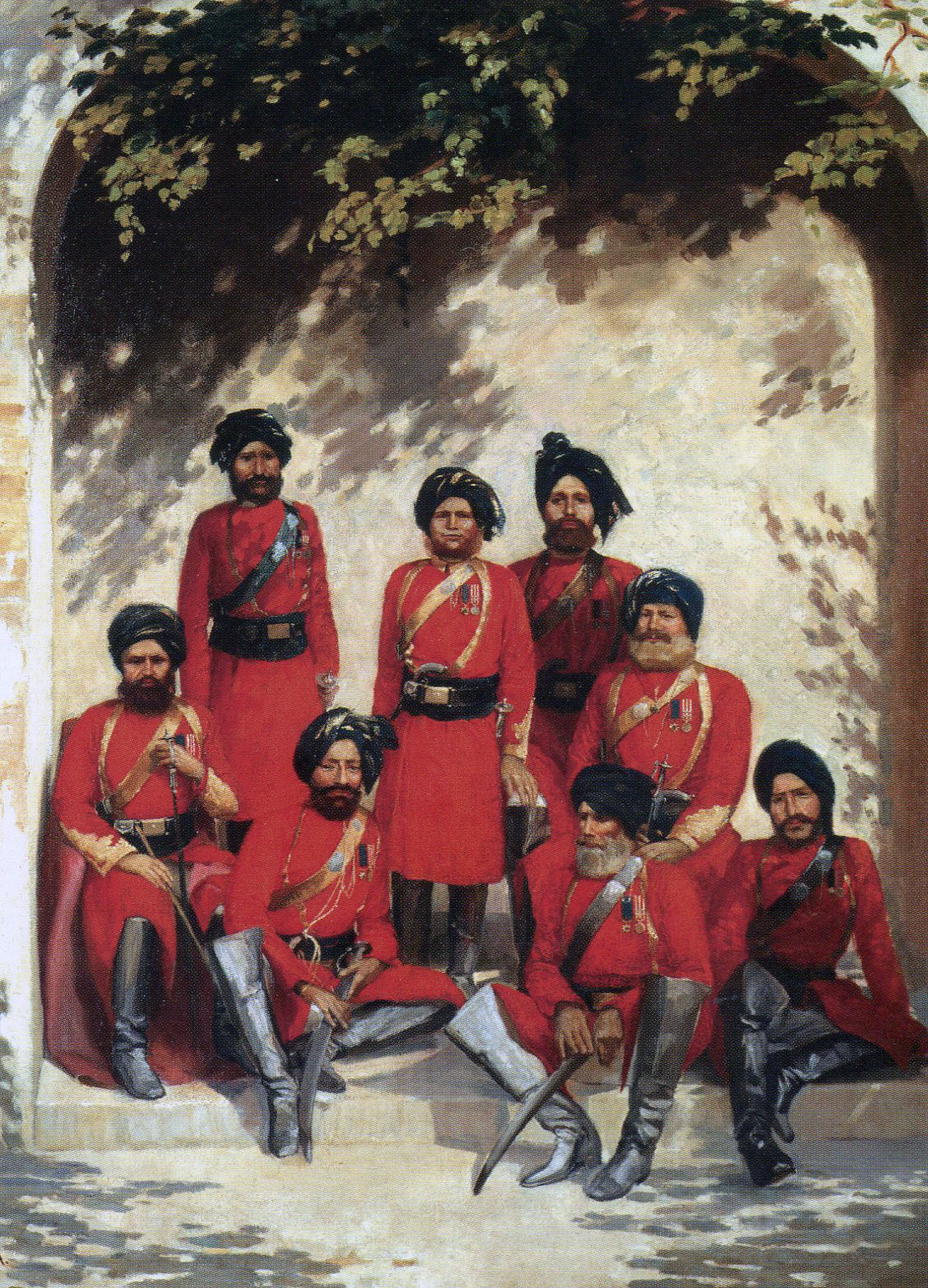 Indian Officers of the 2nd Punjab Cavalry: Battle of Ahmed Khel on 19th April 1880 in the Second Afghan War: picture by Gordon Hayward