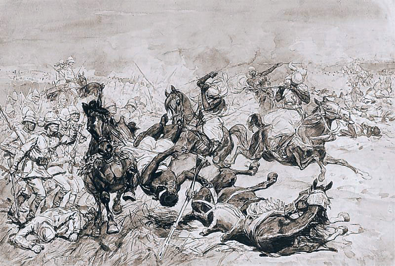 Battle of El Teb on 29th February 1884 in the Sudanese War: drawing by Josef Chelmonski