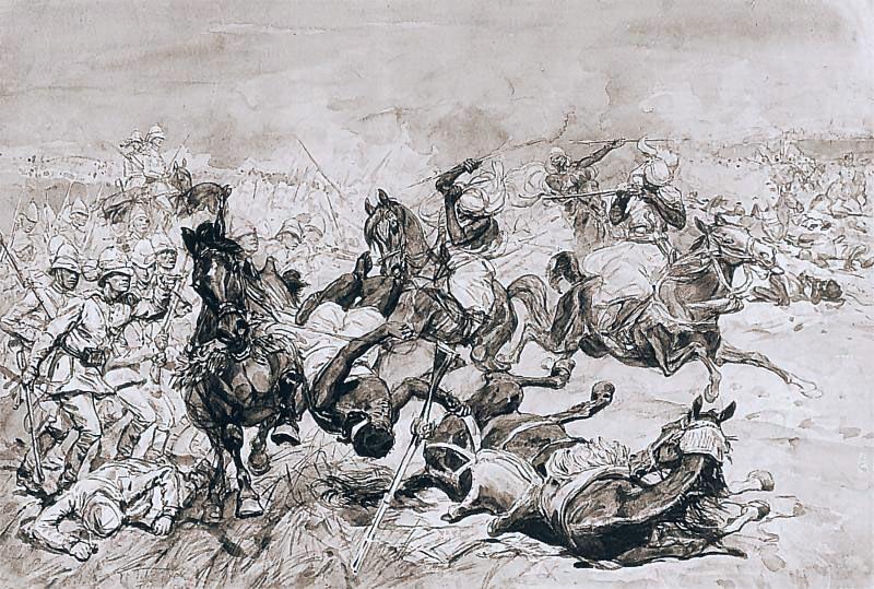Battle of El Teb on 29th February 1884 in the Sudanese War: drawing by Josef Chelmonski