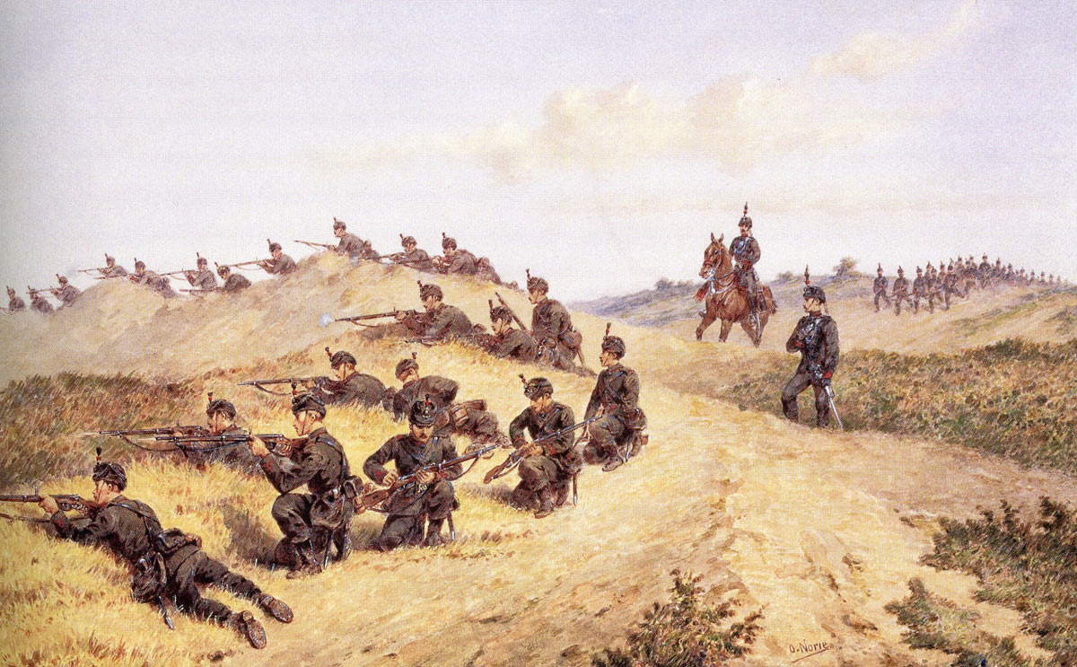 King's Royal Rifle Corps on exercise in England: Battle of Tamai on 13th March 1884 in the Sudanese War: picture by Orlando Norie