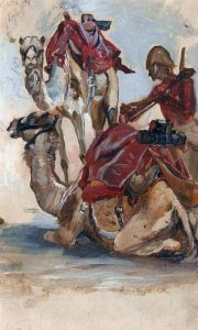 Camel Corps: Battle of Abu Klea on 17th January 1885 in the Sudanese War: picture by Lady Butler