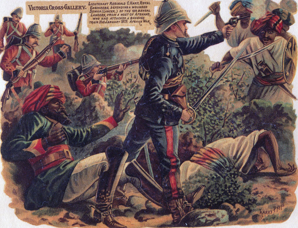 Lieutenant Hart Royal Engineers winning the VC: Battle of Charasiab on 9th October 1879 in the Second Afghan War: picture by Harry Payne