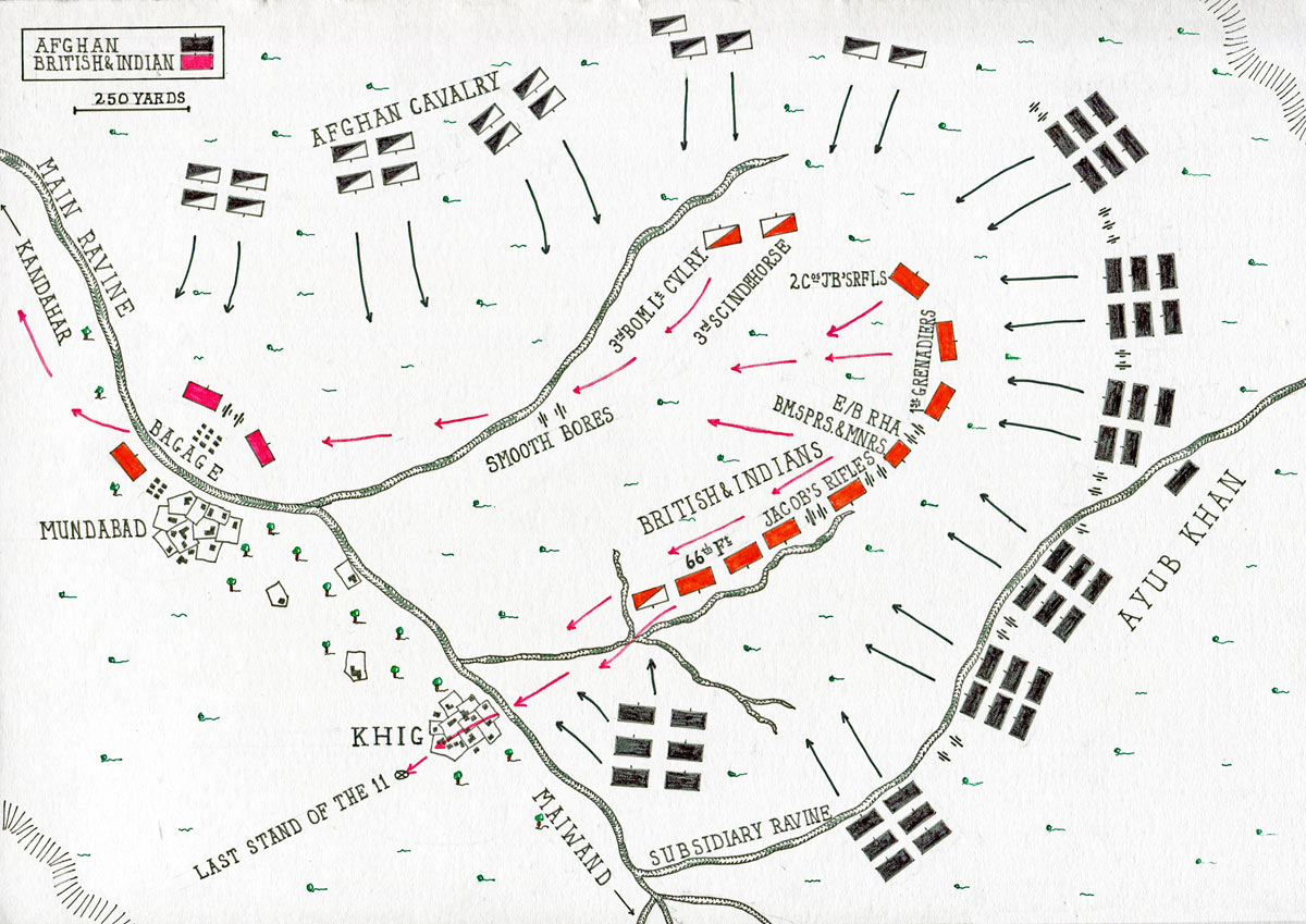 Map of the Battle of Maiwand on 26th July 1880 in the Second Afghan War: map by John Fawkes