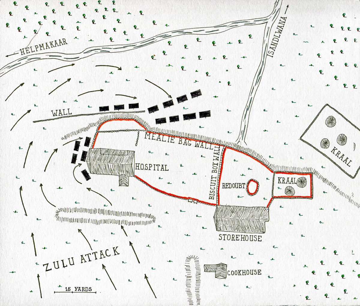 Map of the Battle of Rorke's Drift on 22nd January 1879 in the Zulu War: map by John Fawkes