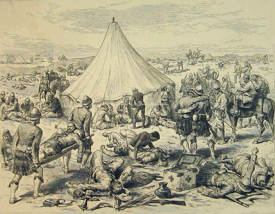 Medical treatment camp after the Battle of Tel-el-Kebir on 13th September 1882 in the Egyptian War