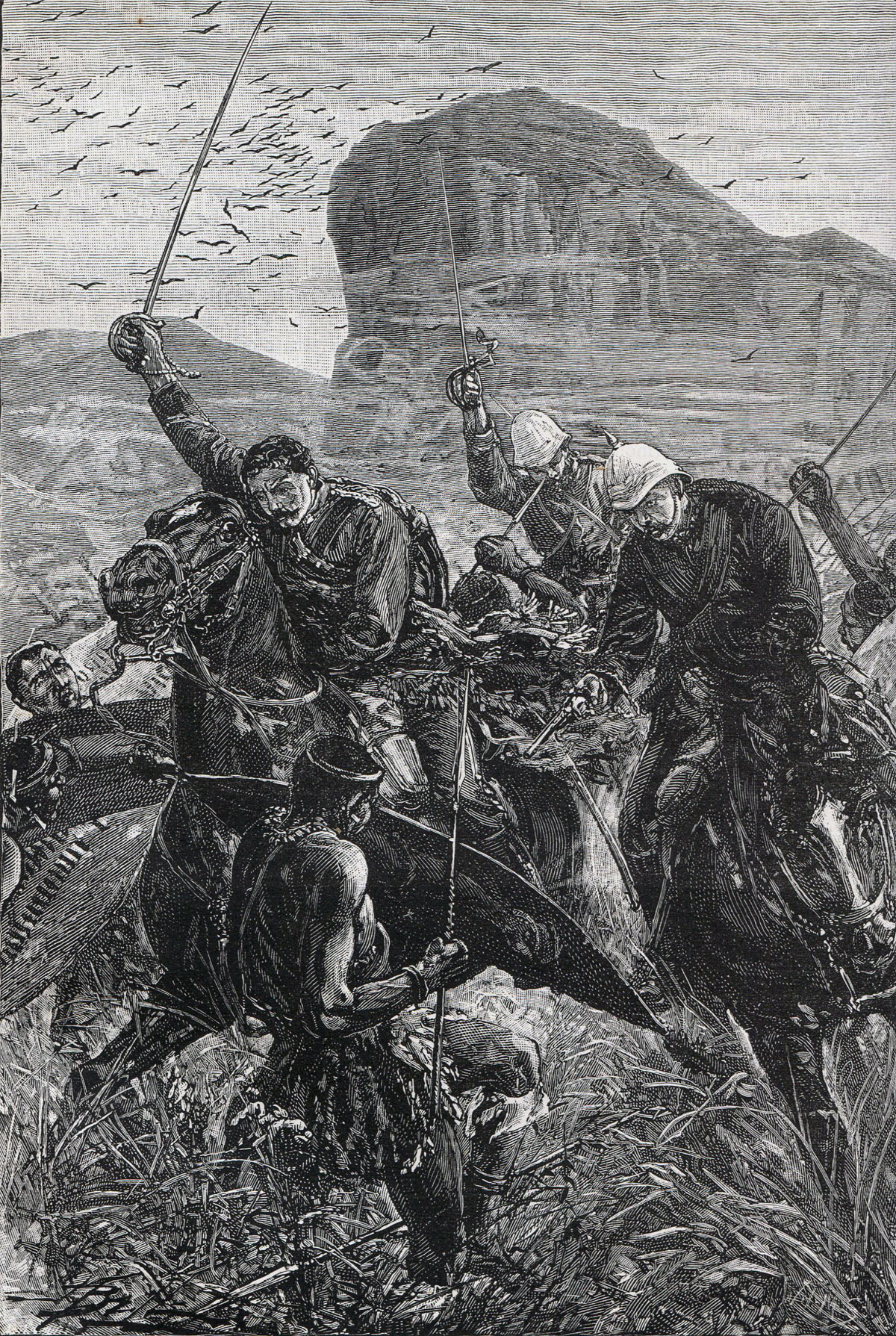 The escape of Lieutenants Melville and Coghill with the Queen's Colour of the 24th Regiment at the Battle of Isandlwana on 22nd January 1879 in the Zulu War