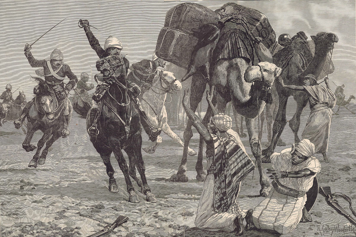 19th Hussars advancing across the desert: Battle of Abu Klea fought on 17th January 1884 in the Sudanese War: picture by Richard Caton Woodville