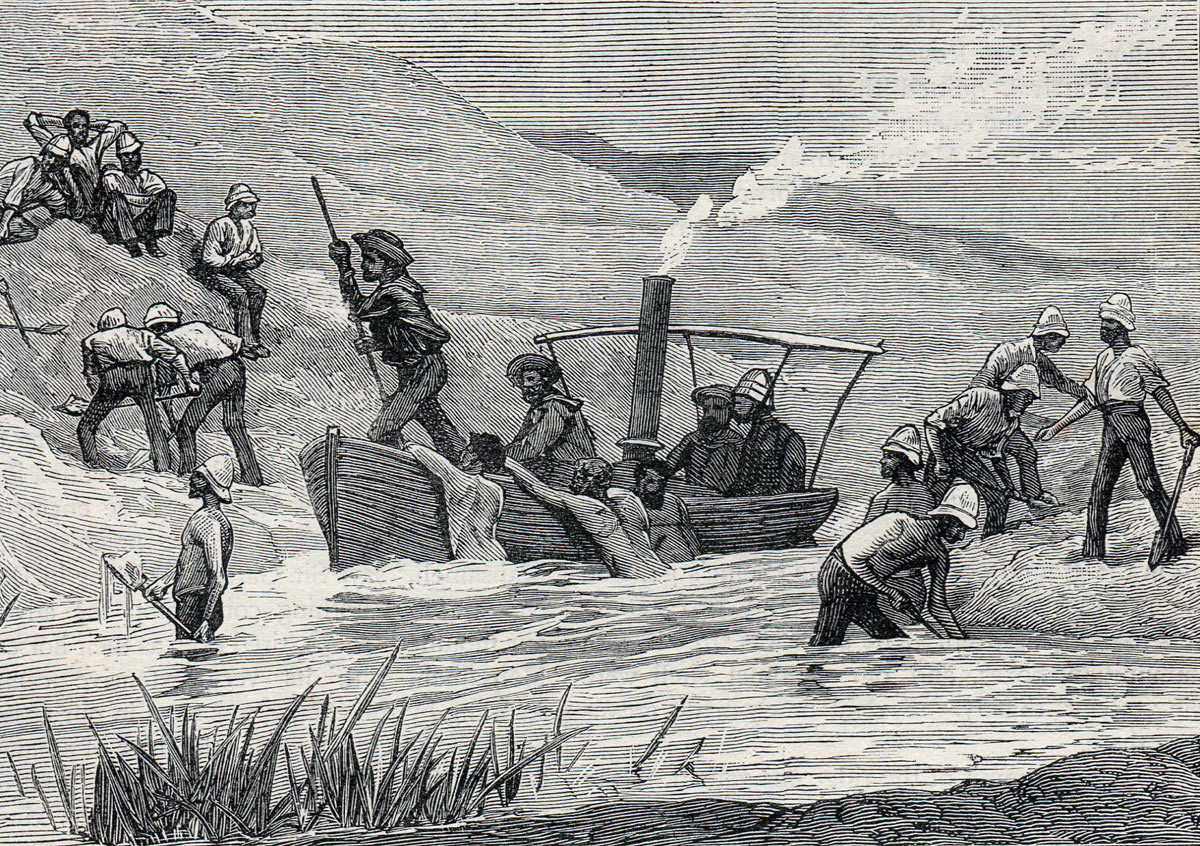 Royal Navy steam pinnace and soldiers clearing the dammed stream: Battle of Tel-el-Kebir on 13th September 1882 in the Egyptian War