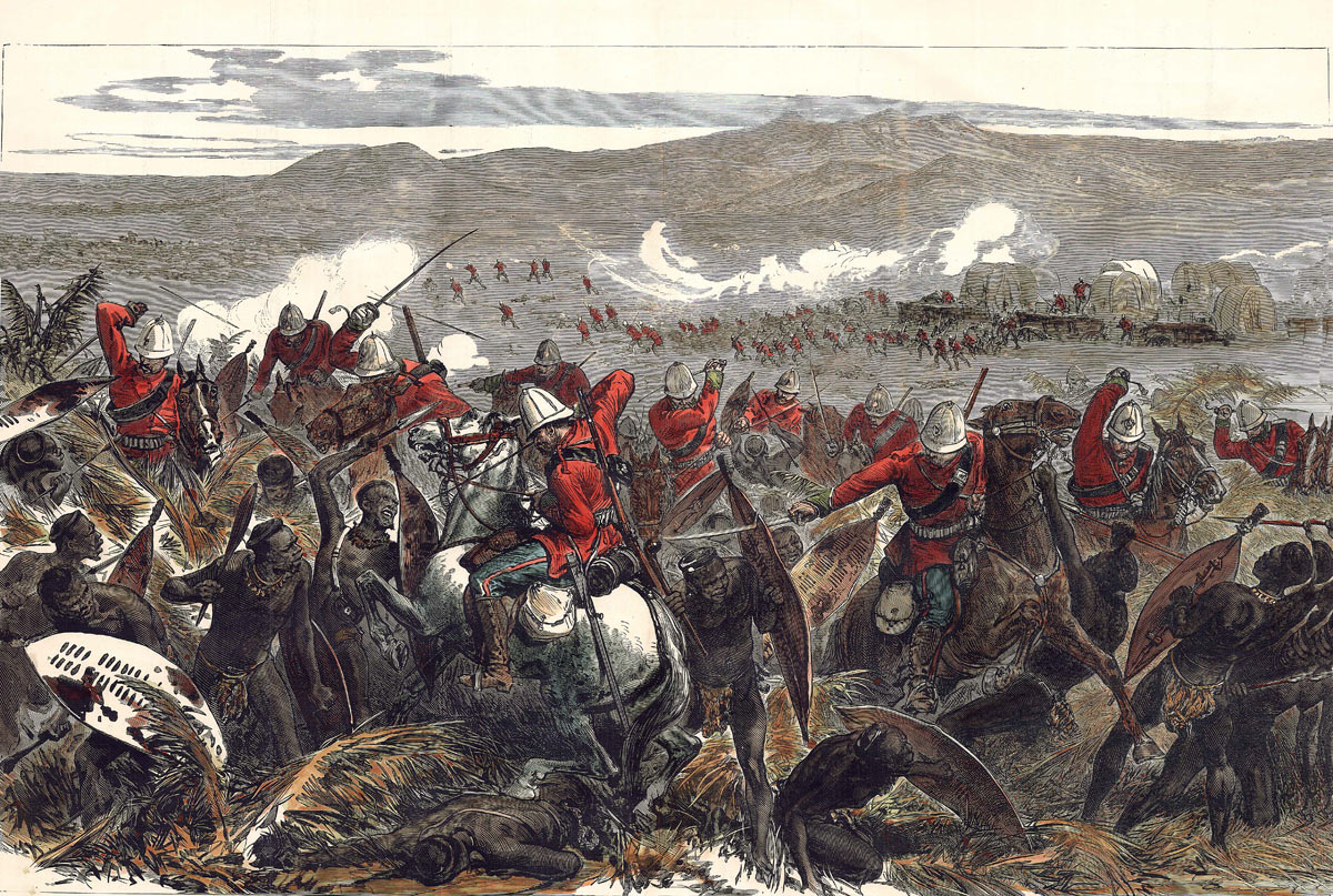 Repulse of the Zulu attack at the Battle of Gingindlovu on 2nd April 1879 in the Zulu War