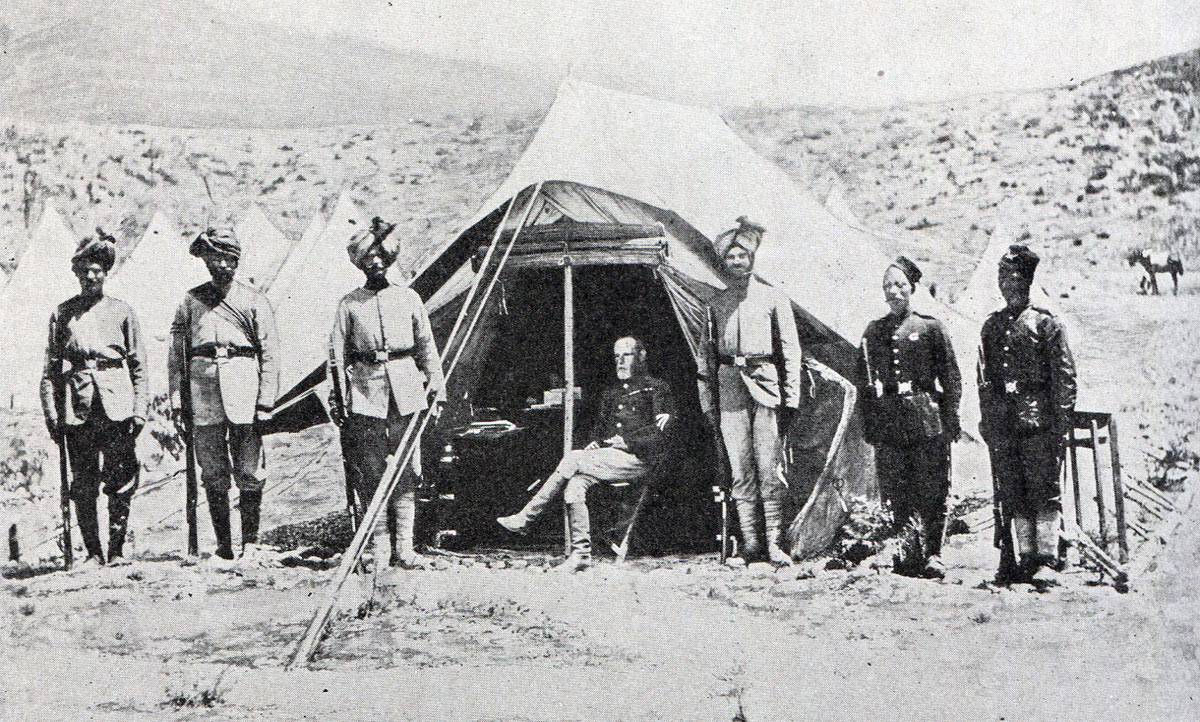 Lieutenant General Sir Frederick Roberts VC with his Pathan, Sikh and Gurkha orderlies: Battle of Kandahar on 1st September 1880 in the Second Afghan War