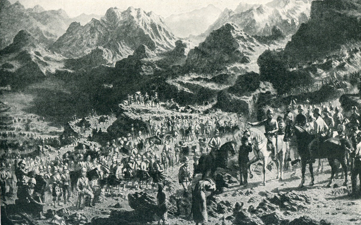 General Roberts' army on the march from Kabul to Kandahar: Battle of Kandahar on 1st September 1880 in the Second Afghan War