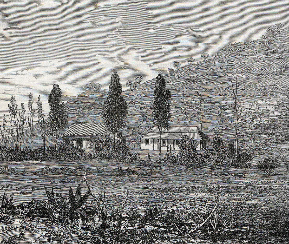 Rorke's Drift Mission Station before the Zulu attack: Battle of Rorke's Drift on 22nd January 1879 in the Zulu War