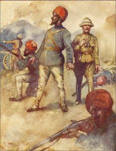 General Roberts' Sikh Orderly covering the general: Battle of Kandahar on 1st September 1880 in the Second Afghan War