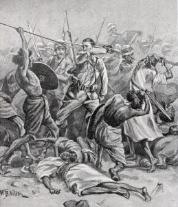 British Square at the Battle of Abu Klea on 17th January 1885 in the Sudanese War: print by William Barnes Wollen