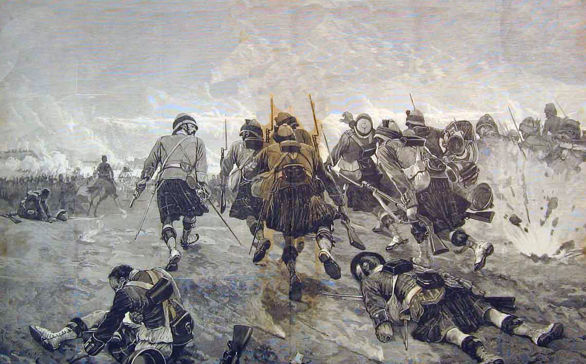 Highlanders advancing at the Battle of Tel-el-Kebir on 13th September 1882 in the Egyptian War: picture by Richard Caton Woodville