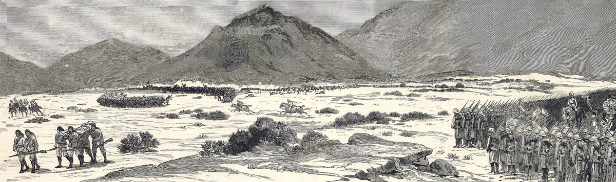 The two British Brigade Squares at the Battle of Tamai on 13th March 1884 in the Sudanese War: two newspaper correspondents are riding from the rear square to the leading square