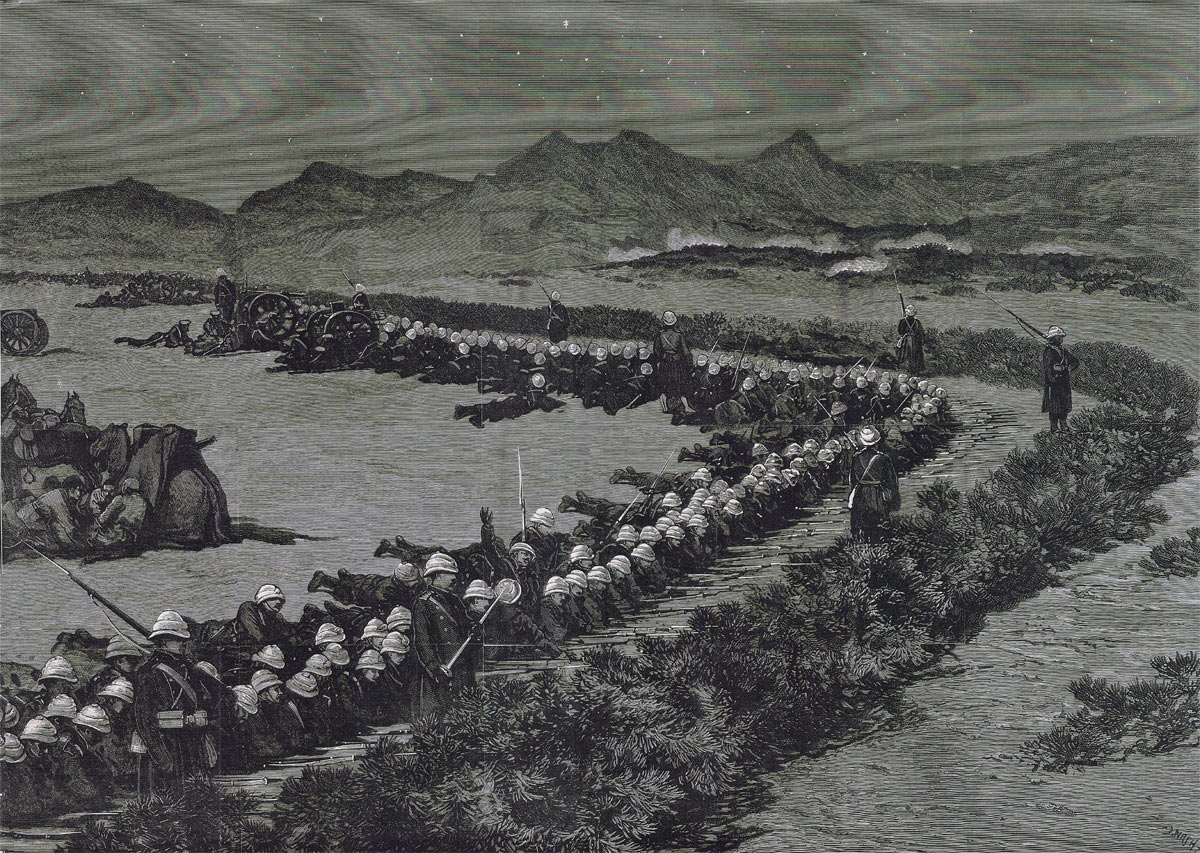 General Graham's force in the zeriba on the night before the Battle of Tamai on 13th March 1884 in the Sudanese War