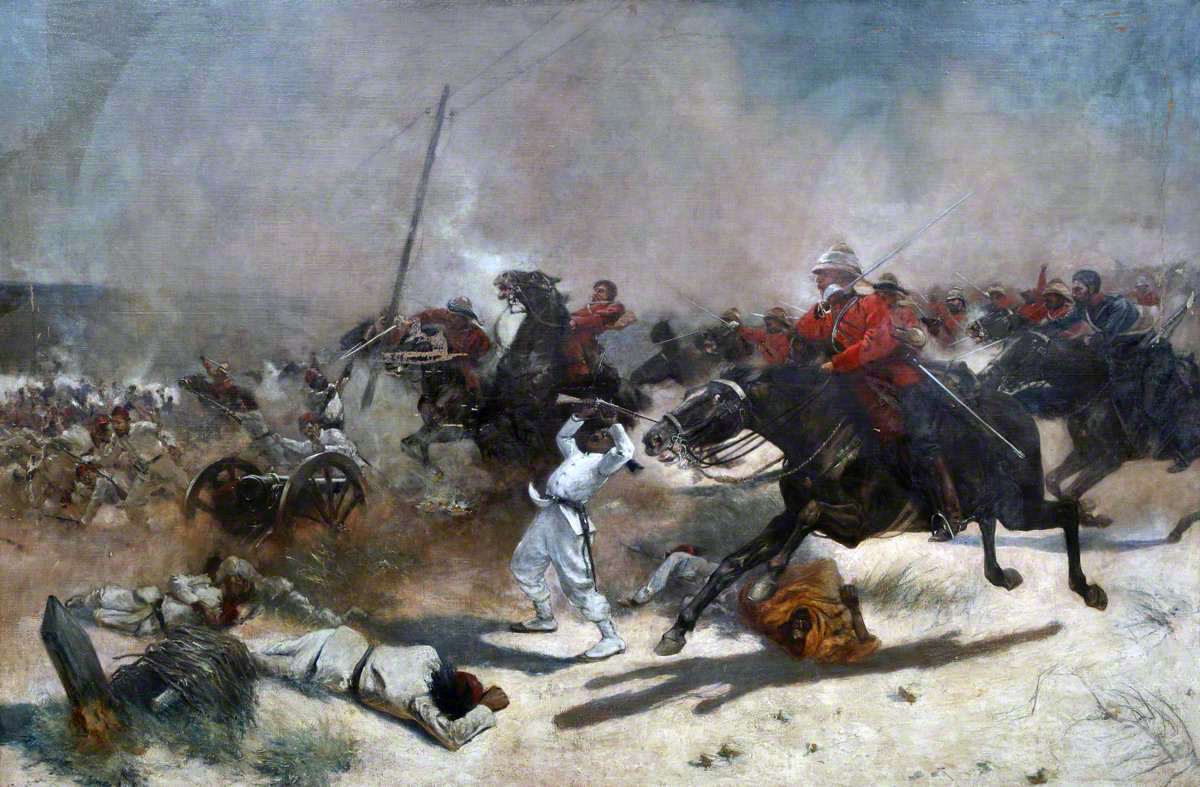 British 'Moonlight' Cavalry Charge at Kassassin: Battle of Tel-el-Kebir on 13th September 1882 in the Egyptian War: picture by Henry Ganz