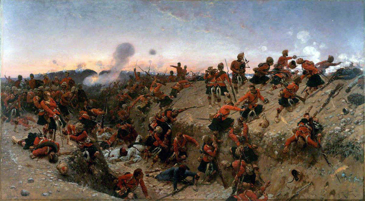 Black Watch at the Battle of Tel-el-Kebir on 13th September 1882 in the Egyptian War: picture by Alphonse de Neuville