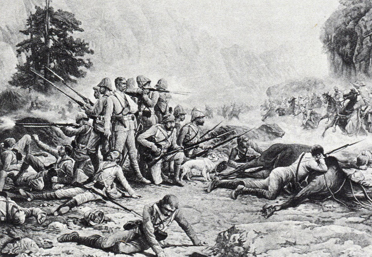 The last stand of the 'Eleven' at the Battle of Maiwand on 26th July 1880 in the Second Afghan War: picture by Frank Feller