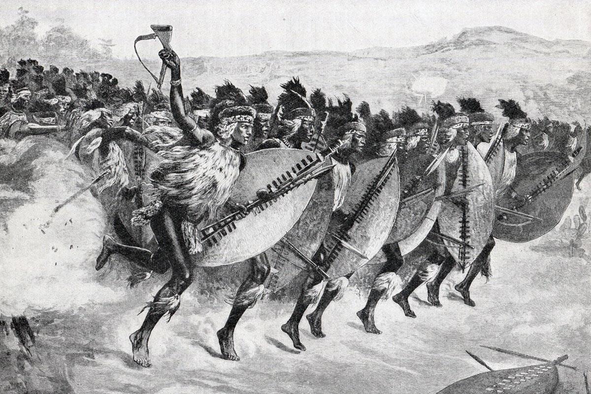 Zulu Attack at the Battle of Khambula on 29th March 1879 in the Zulu War