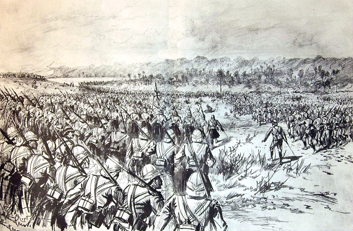 The British brigade advancing at the Battle of Atbara on 8th April 1898 in the Sudanese War