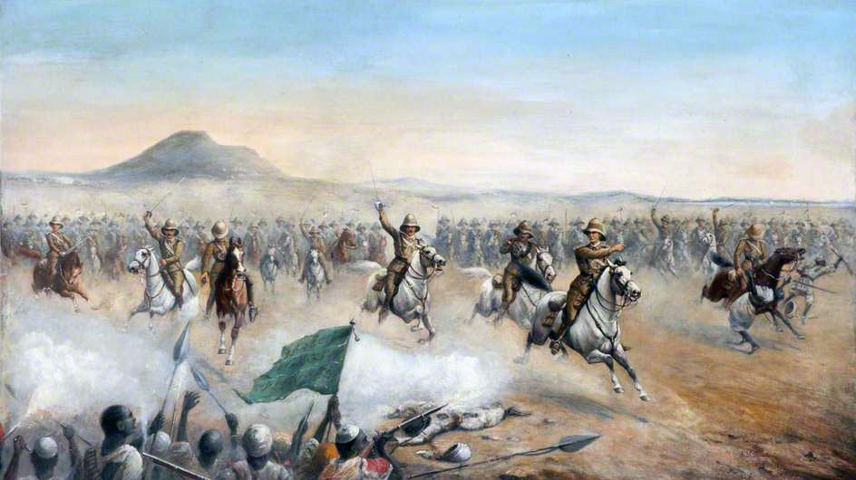 Charge of the 21st Lancers at the Battle of Omdurman on 2nd September 1898 in the Sudanese War: picture by Major John Edward Chapman Mathews