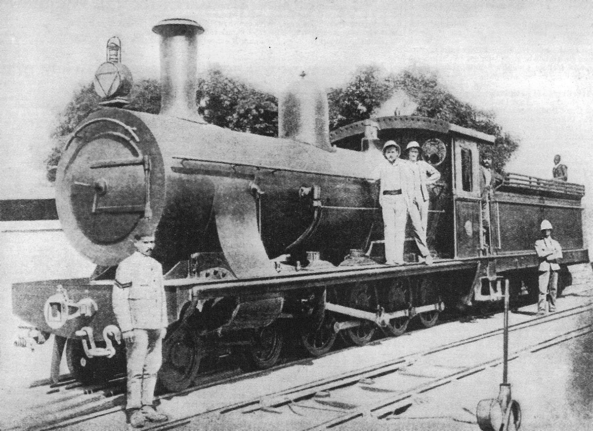 A 'Dongola' class engine of the Sudanese Desert Railway in 1898: Battle of Abu Klea on 17th January 1885 in the Sudanese War
