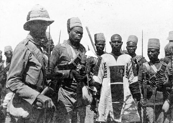The Emir Mahmoud, the Mahdist commander, after his capture at the Battle of Atbara on 8th April 1898 in the Sudanese War