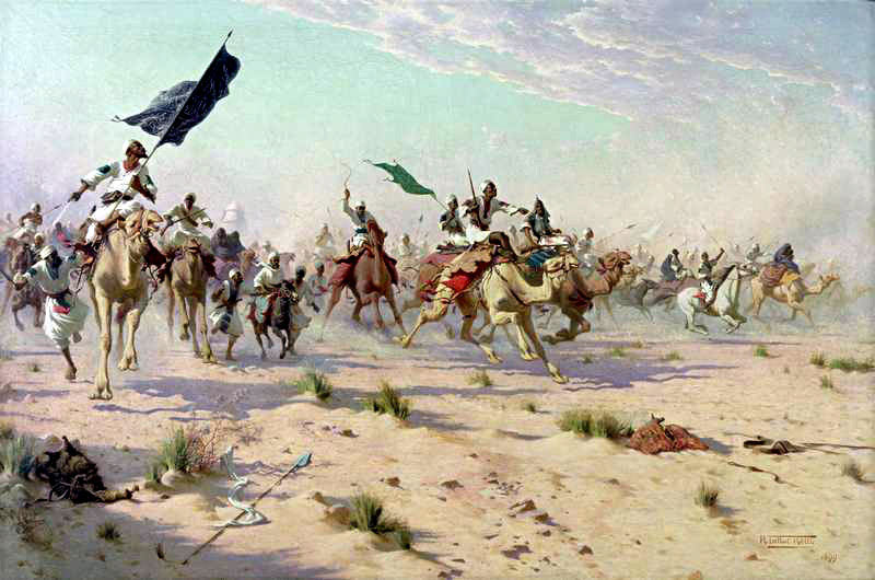 The flight of the Khalifa after the Battle of Omdurman on 2nd September 1898 in the Sudanese War
