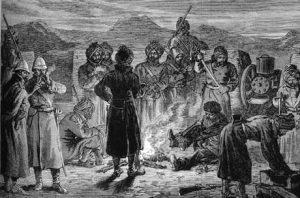Gatling gun crew in the Sherpur Cantonment: Battle of Kandahar on 1st September 1880 in the Second Afghan War