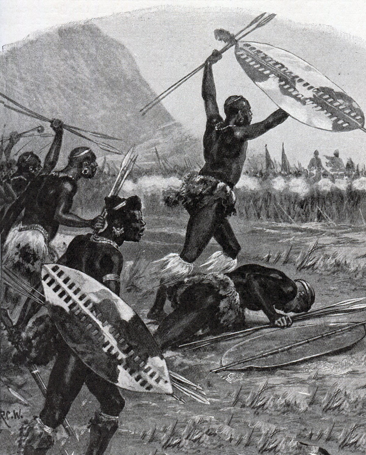 The Zulu attack at the Battle of Isandlwana on 22nd January 1879 in the Zulu War: picture by Richard Caton Woodville