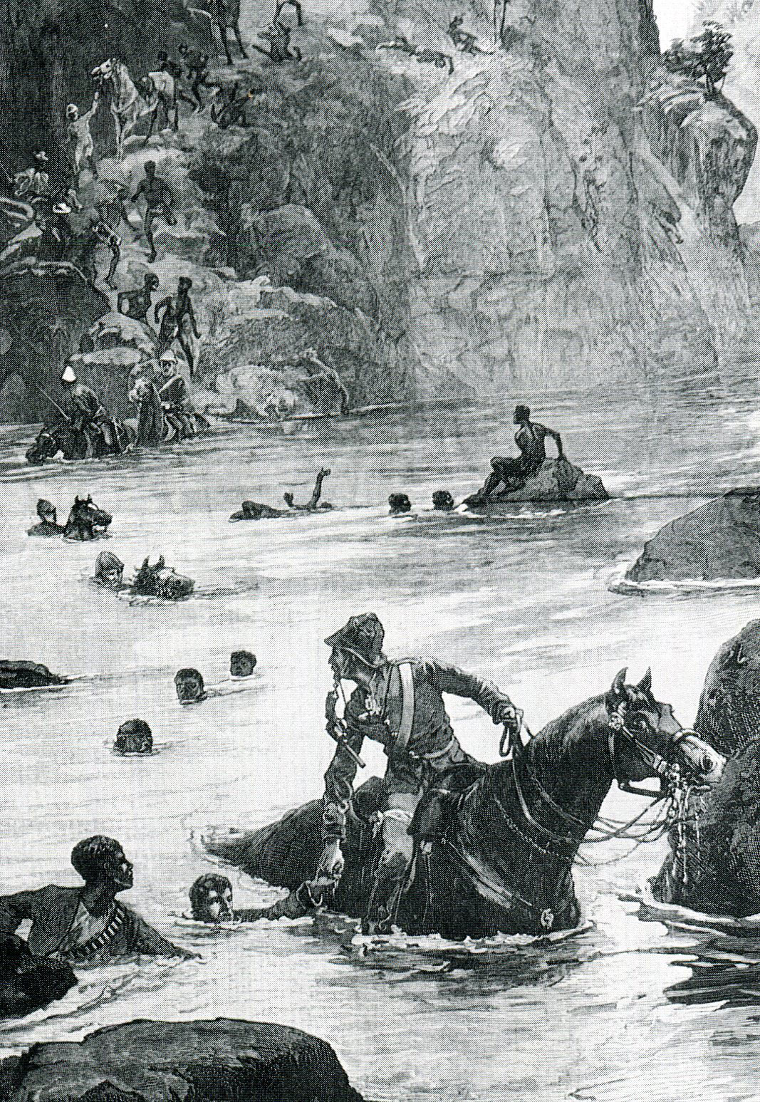 British troops escaping across the Tugela River after the Battle of Isandlwana on 22nd January 1879 in the Zulu War