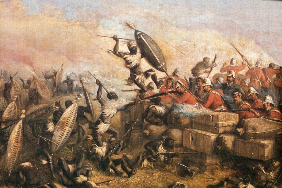 Zulu warriors attacking Rorke's Drift on 22nd January 1879 in the Zulu War