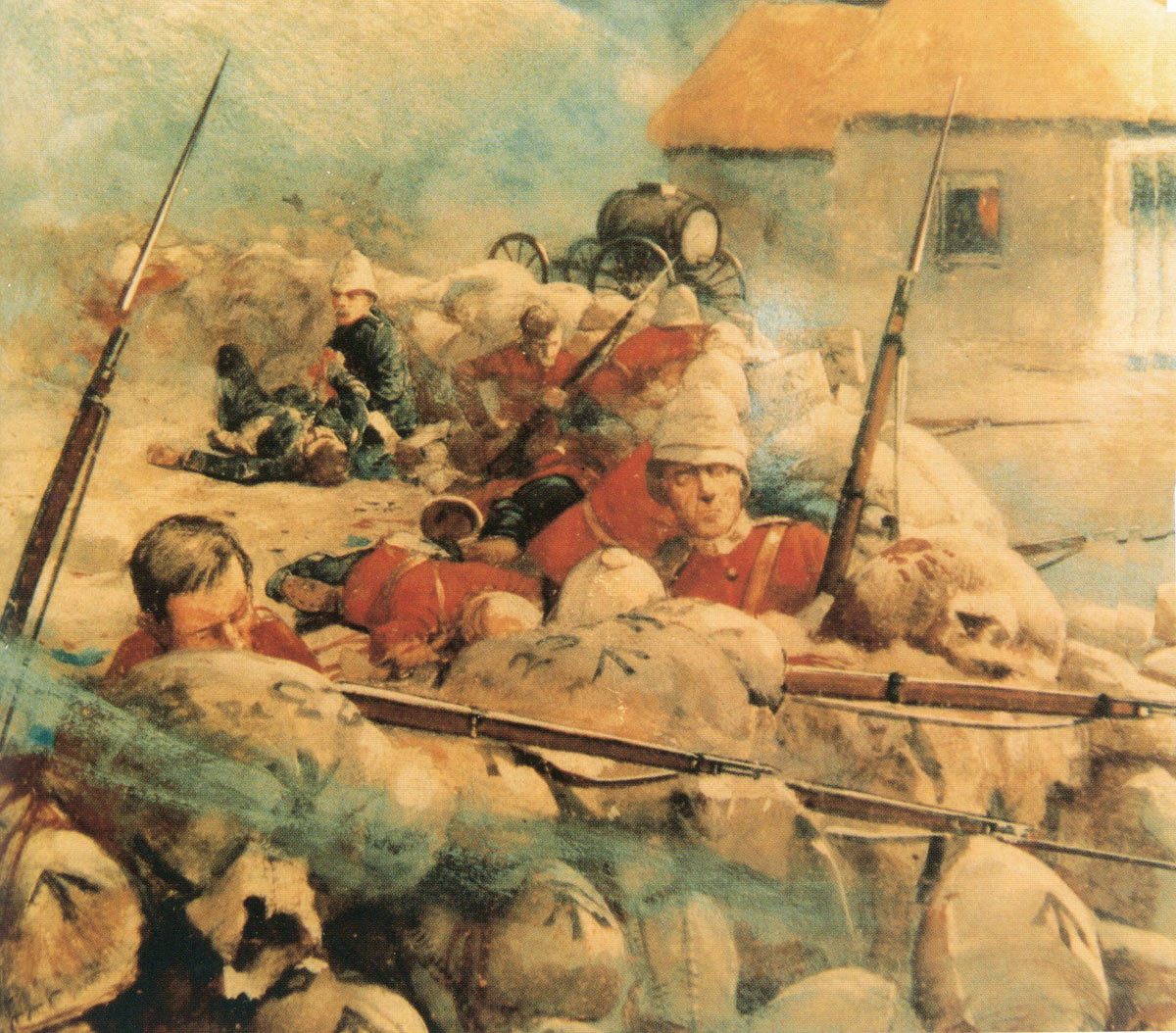 The defence of Rorke's Drift on 22nd January 1879 in the Zulu War